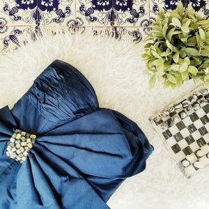 JOVANI navy blue bow strapless short evening dress